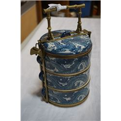 CHINESE BLUE AND WHITE STACKING BOWLS W/ BRASS CARRIER