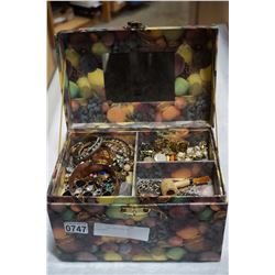 FRUIT JEWELLERY BOX W/ CONTENTS