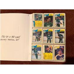 BINDER OF 1983-84 OPEECHEE HOCKEY CARDS, PARTIAL SET