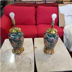 2 CLOISONNE STYLE TABLE LAMPS