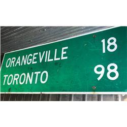 6 FT + ORANGEVILLE / TORONTO WOOD ROAD SIGN