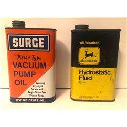 GR OF 2, JOHN DEERE HYDROSTATIC FLUID & SURGE VACUUM PUMP OIL TINS