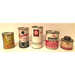 GR OF 5, MISC SMALL OIL CANS