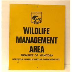 PROV OF MANITOBA, WILDLIFE MANAGEMENT TIN SIGN