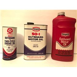 GR OF 3, TEXACO OUTBOARD MOTOR OIL CONTAINERS - FULL