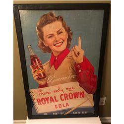 1950 ROYAL CROWN COLA FRAMED CARDBOARD SIGN