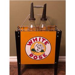 WHITE ROSE OIL BOTTLE RACK W / 2 X SPOUTED OIL BOTTLES