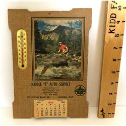 1965 SUPERTEST CALENDAR WITH THERMOMETER - LONDON