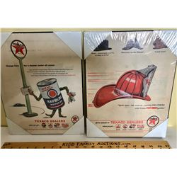 VINTAGE  MOUNTED TEXACO ADVERTISING SIGNS