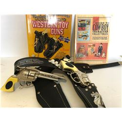 GR OF 3, COWBOY COLLECTIBLES BOOKS & HOLSTER W/ TOY GUNS