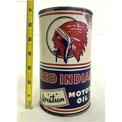 1940'S RED INDIAN 1 QT AVIATION OIL CAN