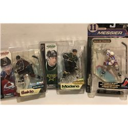 GR OF 4, SPORTS FIGURINES - SAKIC, MODANO, MESSIER - AS NEW