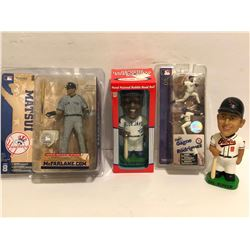 GR OF 4, BASEBALL FIGURINES - 2 X BOBBLE HEADS - AS NEW