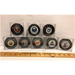 GR OF 8, SIGNED NHL PUCKS - AS NEW