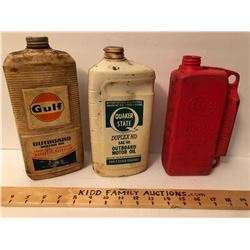 GR OF 3, PLASTIC OUTBOARD OIL JUGS