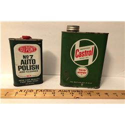 GR OF 2, DUPONT POLISH CAN & CASTROL GEAR OIL CAN