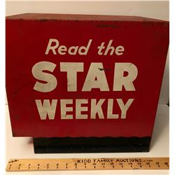 VINTAGE STAR WEEKLY METAL NEWSPAPER BOX