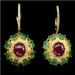 Oval Red Ruby 10x8mm Green Emerald Earrings