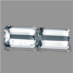 Natural Diamond White Aquamarine Pair 9.5x6 MM {VVS)