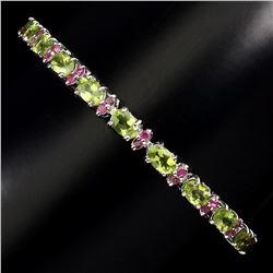 Natural Top Rich Green Peridot & Ruby Bracelet