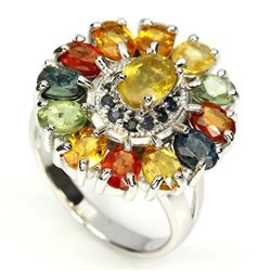 Natural Fancy Sapphire Sterling Silver 45 carats Ring
