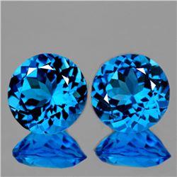 Natural AAA Swiss Blue Topaz Pair 9.00 MM - Flawless