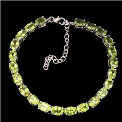 Natural  Rich Green Peridot 69 Cts Bracelet