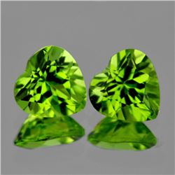 Natural Green Peridot Heart Pair 7 mm - VVS