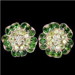 NATURAL AAA GREEN CHROME DIOPSIDE & PERIDOT Earrings