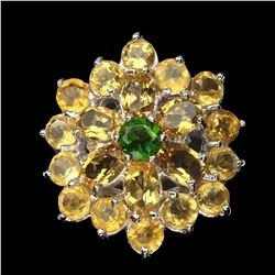 Natural  Oval Citrine 6x4 mm Chrome Diopside Ring