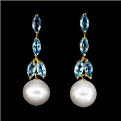 Natural Pearl & Topaz Earrings