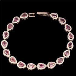 Natural Unheated Pear Pink Tourmaline Bracelet