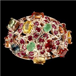 Natural  Fancy Color Sapphire Emerald & Ruby Ring