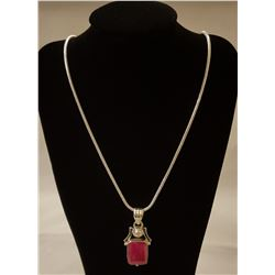 OUTSTANDING 9 CT RUBY PENDANT.
