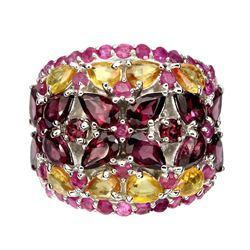 Natural Rhodolite Garnet,  Citrine & Ruby Ring