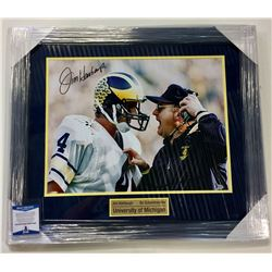 FRAMED PHOTOGRAPH OF JIM HARBAUGH AND BO SCHEMBECHLER SIGNED BY HARBAUGH