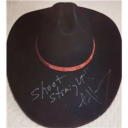 JIM SHOCKEY'S AUTOGRAPHED BLACK HAT AND HAT BOX