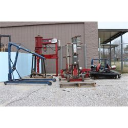 4 WHEEL DOLLY, OIL FILTER CRUSHER, OIL DRAIN ASSEMBLY,  GREASE PUMP, CRANE, HYDRAULIC JACKS,  Shop E