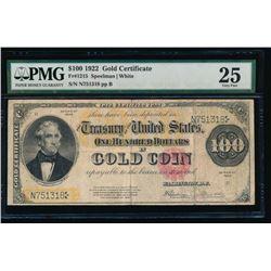 1922 $100 Gold Certificate PMG 25