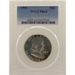 1954 Proof Franklin Half Dollar Coin NGC PR64