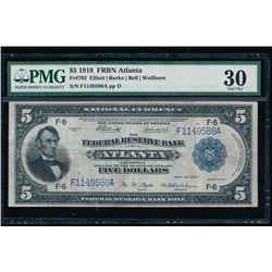 1918 $5 Atlanta Federal Reserve Bank Note PMG 30