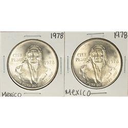 Lot of (2) 1978 Mexico Cien Pesos Silver Coins