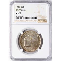 1936 Delaware Commemorative Half Dollar Coin NGC MS67