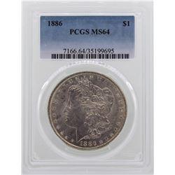 1886 $1 Morgan Silver Dollar Coin PCGS MS64