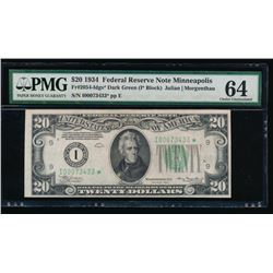 1934 $20 Minneapolis Federal Reserve Star Note PMG 64