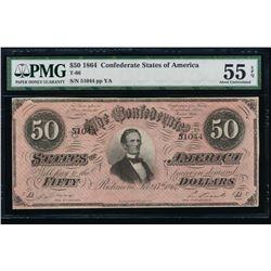 1864 $50 Confederate States of America Note PMG 55EPQ