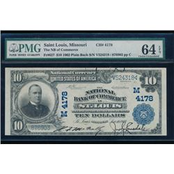 1902 $10 St Louis National Bank Note PMG 64EPQ