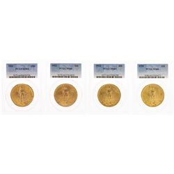 Lot of 1922-1925 $20 St. Gaudens Double Eagle Gold Coins PCGS MS64