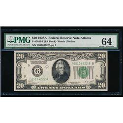 1928A $20 Atlanta Federal Reserve Note PMG 64
