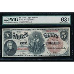 1880 $5 Legal Tender Note PMG 63EPQ